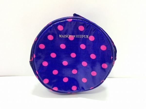 Maison de Reefur(メゾン ド リーファー) ポーチ ネイビー×ピンク ドット柄 レーヨン