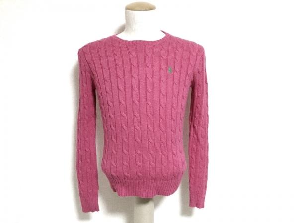 ポロラルフローレン 長袖セーター サイズM レディース新品同様  ピンク×グリーン