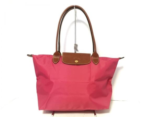 ロンシャン ショルダーバッグ美品  ピンク×ブラウン 折りたたみ ナイロン×レザー