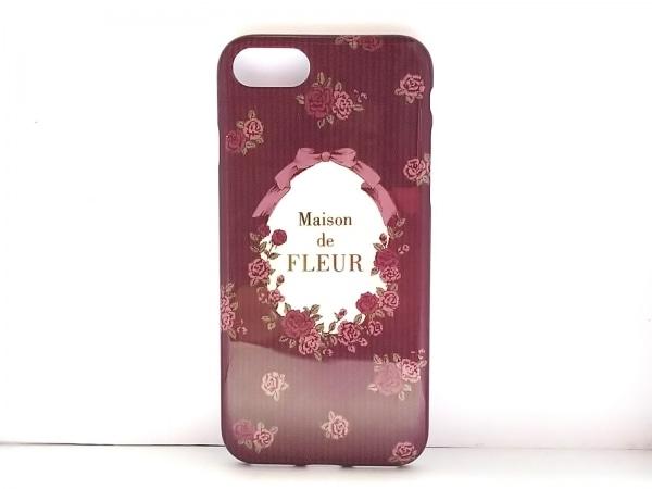 メゾンドフルール 携帯電話ケース美品  ボルドー×ピンク×マルチ iPhone7/8対応