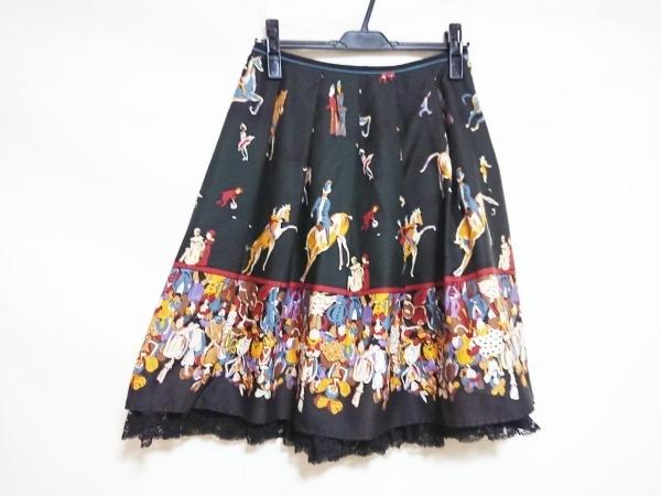 Lois CRAYON(ロイスクレヨン) スカート レディース美品  黒×マルチ レース