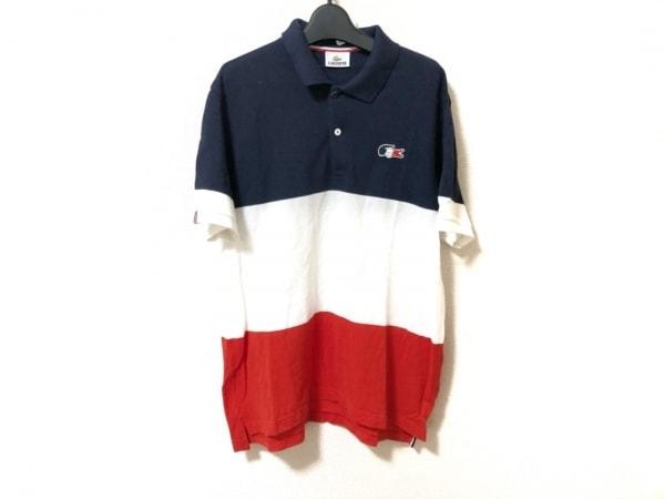 Lacoste(ラコステ) 半袖ポロシャツ サイズ5 XL メンズ美品  ネイビー×白×レッド