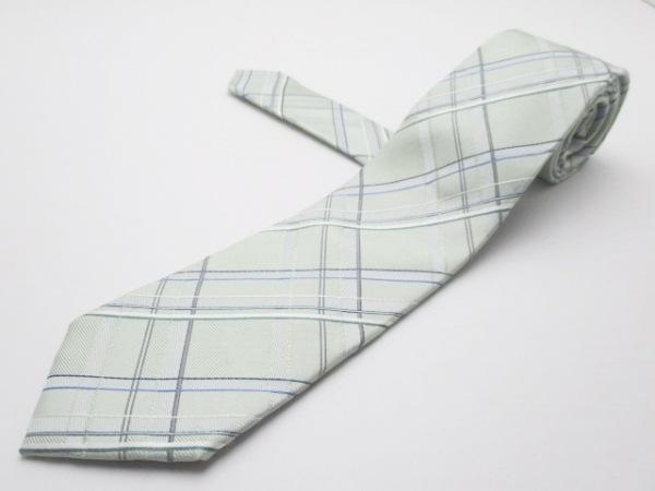 コムサメン ネクタイ メンズ ライトグリーン×グレー×白×マルチ チェック柄