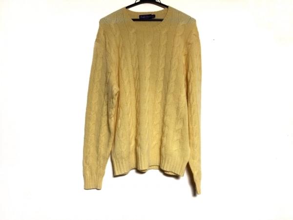 ラルフローレンコレクション パープルレーベル 長袖セーター サイズL メンズ イエロー