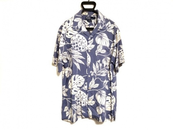 ポロラルフローレン 半袖シャツ サイズL メンズ ライトブルー×アイボリー
