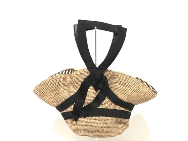ジェーンマープル トートバッグ ベージュ×黒 Dans Le Salon/帽子 ストロー×化学繊維