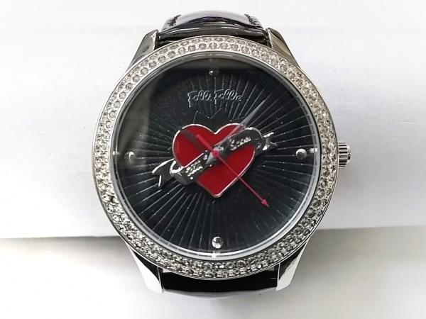 フォリフォリ 腕時計 WF9A017SP レディース 革ベルト/ラインストーンベゼル/ハート 黒