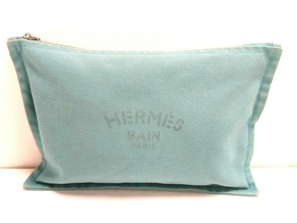 HERMES(エルメス) ポーチ ヨッティングGM ライトブルー キャンバス
