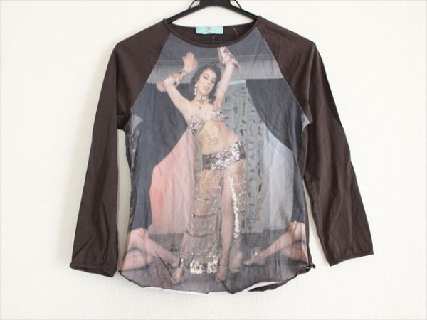 アニヤハインドマーチ 長袖Tシャツ サイズ42 L レディース ダークブラウン×ベージュ