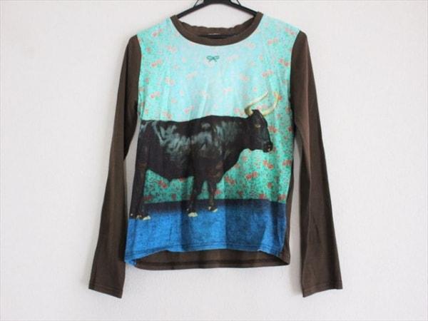 アニヤハインドマーチ 長袖Tシャツ サイズ42 L レディース ダークブラウン×マルチ