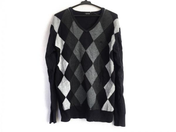 バーバリーブラックレーベル 長袖セーター サイズ3 L メンズ アーガイル柄
