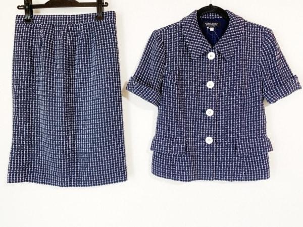 kimijima(キミジマ) スカートスーツ サイズ9 M レディース美品  ダークネイビー×白