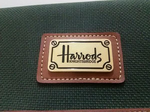 HARRODS(ハロッズ) ガーメントケース ダークグリーン×ブラウン キャンバス×レザー
