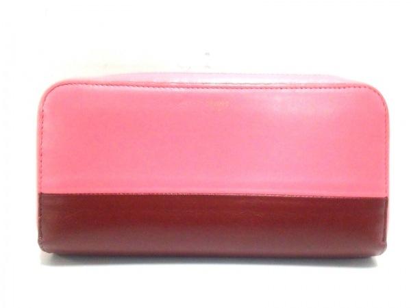 CELINE(セリーヌ) 長財布 - ピンク×ボルドー ラウンドファスナー/バイカラー レザー
