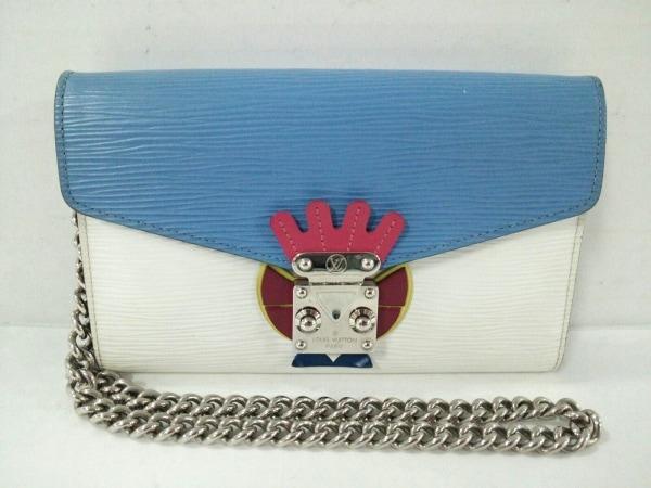 ルイヴィトン 財布 エピ - ライトブルー×白×マルチ チェーンウォレット エピ・レザー