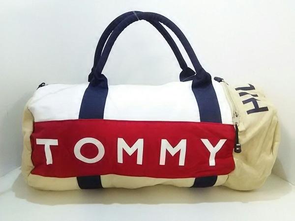 TOMMY HILFIGER(トミーヒルフィガー) ボストンバッグ 白×ベージュ×マルチ コットン