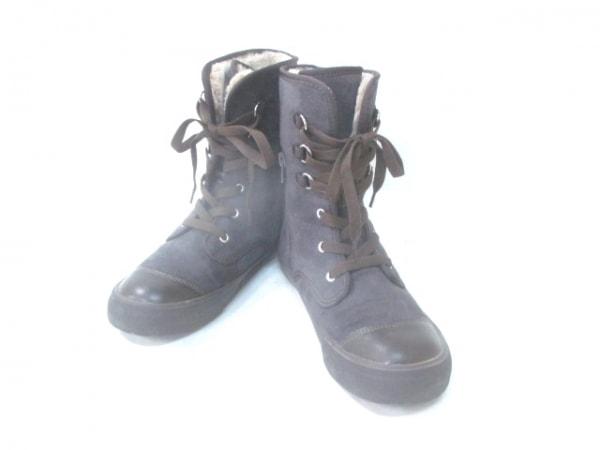アシナガオジサン ブーツ 23.5 レディース ダークグレー×ブラウン ムートン