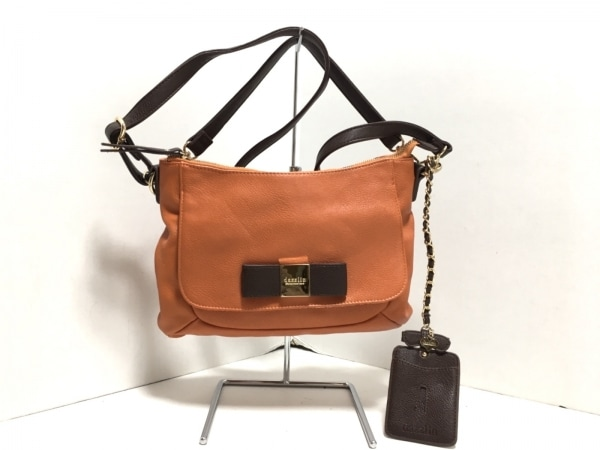 DAZZLIN(ダズリン) ハンドバッグ美品  オレンジ×ブラウン リボン 合皮