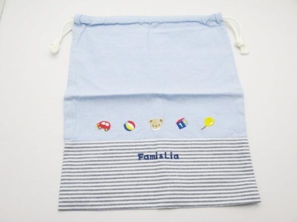 familiar(ファミリア) ポーチ ライトブルー×白×グレー ボーダー/巾着袋 コットン