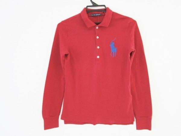 ラルフローレン 長袖ポロシャツ サイズL レディース ビックポニー レッド×ブルー