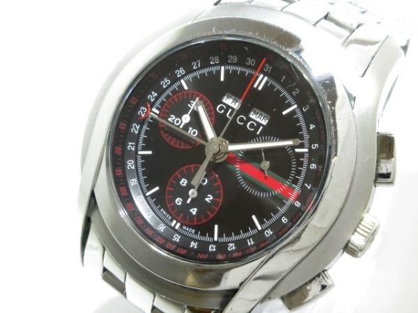 GUCCI(グッチ) 腕時計 - 5500 メンズ 黒×レッド×グリーン