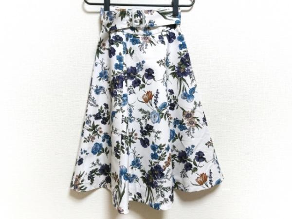 マイストラーダ ロングスカート サイズ34 S レディース美品  白×マルチ 花柄