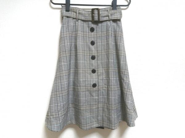 ジャスグリッティー スカート サイズ0 XS レディース美品  アイボリー×黒×マルチ