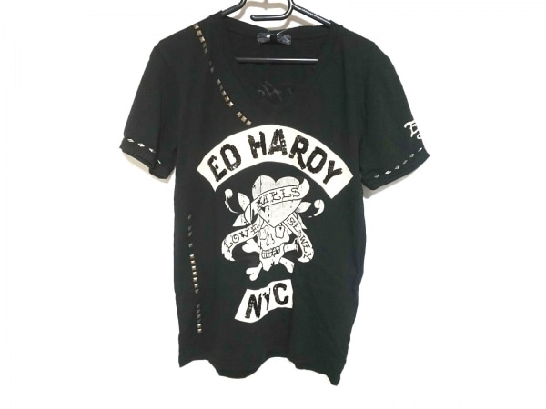 エドハーディー 半袖Tシャツ サイズM レディース 黒×ベージュ スパンコール