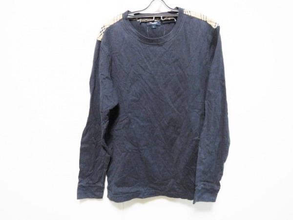 バーバリーロンドン 長袖Tシャツ サイズL メンズ ダークネイビー×ベージュ×マルチ