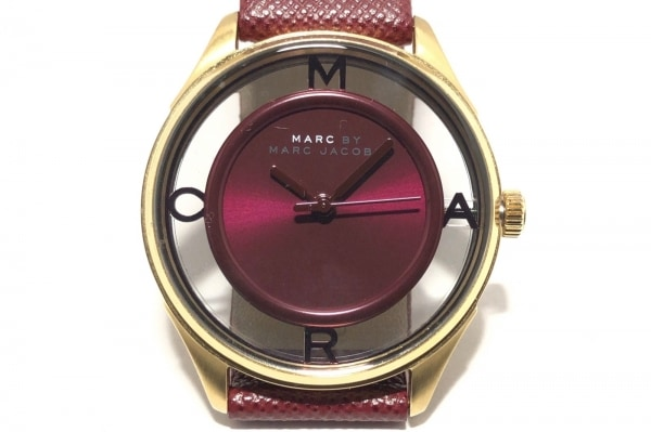 マークジェイコブス 腕時計 - MBM1377 レディース 革ベルト ボルドー