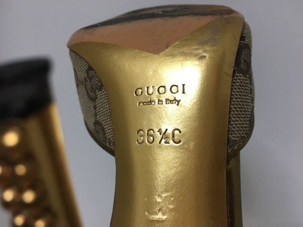 GUCCI(グッチ) ミュール 36 2/1 レディース GG柄 ライトブラウン×ゴールド