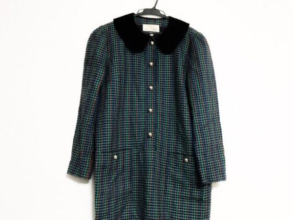 ミスアシダ ワンピース サイズ9 M レディース美品  グリーン×黒×マルチ