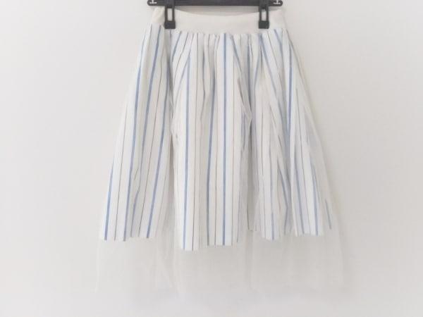 FRAY I.D(フレイアイディー) スカート レディース 白×ブルー×黒 メッシュ