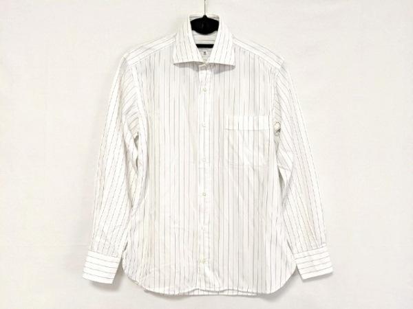 Guy Rover(ギローバー) 長袖シャツ サイズ38 M メンズ 白×黒 ストライプ