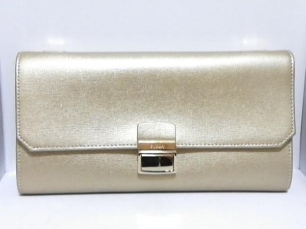 FURLA(フルラ) 財布美品  ゴールド ショルダーウォレット(ストラップ取外し可) レザー