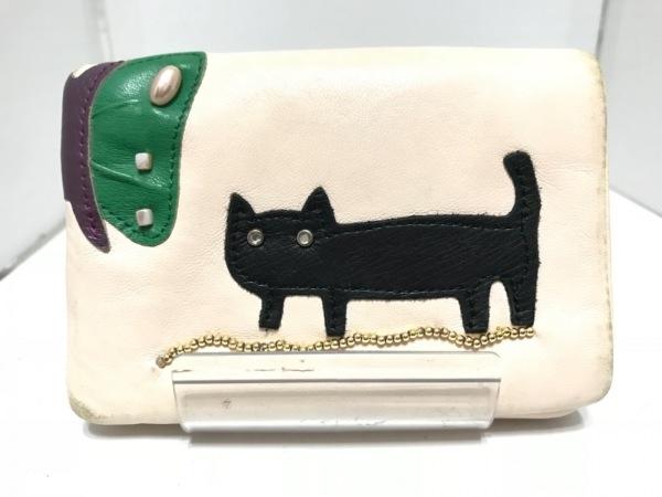 ツモリチサト 2つ折り財布 アイボリー×黒×マルチ ネコ/ラインストーン レザー