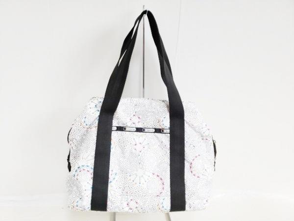レスポートサック ハンドバッグ美品  白×黒×マルチ ハート/ミニボストン