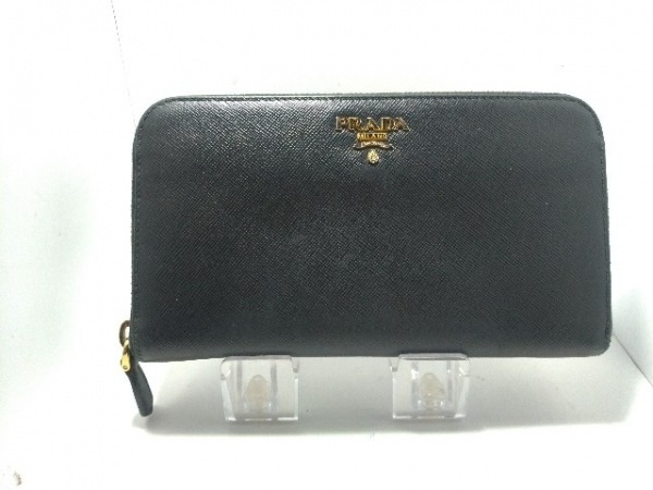 PRADA(プラダ) 長財布 - 1M0506 黒 ラウンドファスナー レザー