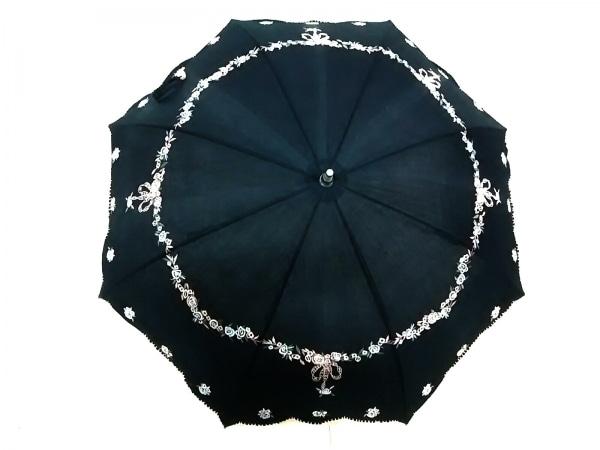 cacharel(キャシャレル) 日傘美品  黒×ピンク×マルチ 花柄/刺繍 コットン