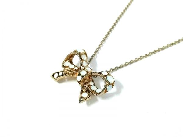 レネレイド ネックレス美品  金属素材×ラインストーン ゴールド×白 リボン