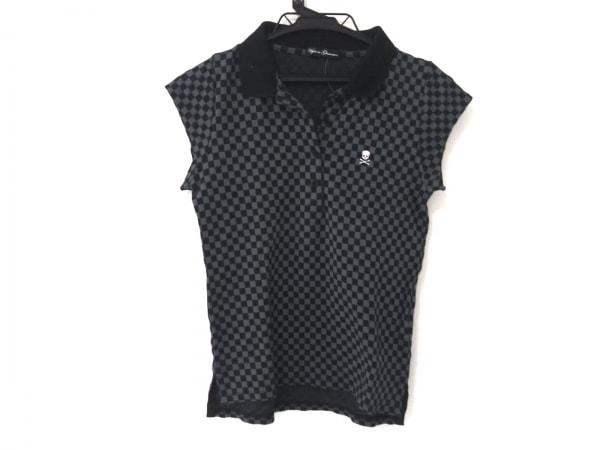 ヒステリックグラマー ポロシャツ レディース グレー×黒 チェック柄/スカル