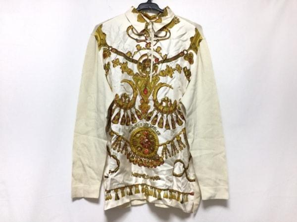 HERMES(エルメス) 長袖セーター サイズS レディース アイボリー×ゴールド×マルチ