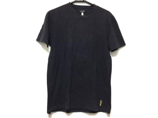 アルマーニジーンズ 半袖Tシャツ サイズL レディース ダークネイビー×白