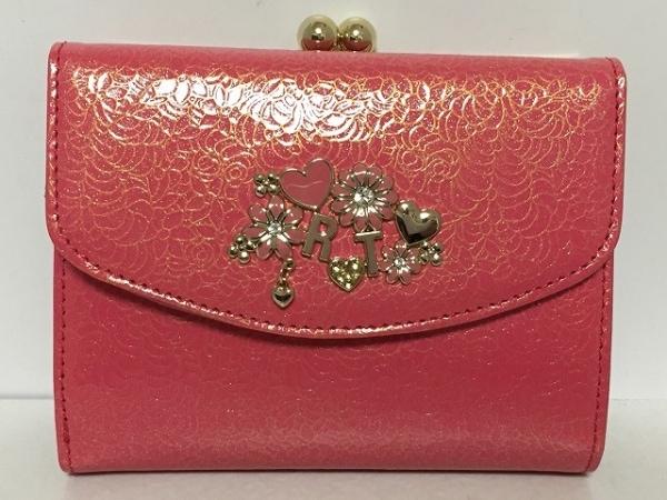 レベッカテイラー 3つ折り財布美品  ピンク がま口 エナメル(レザー)