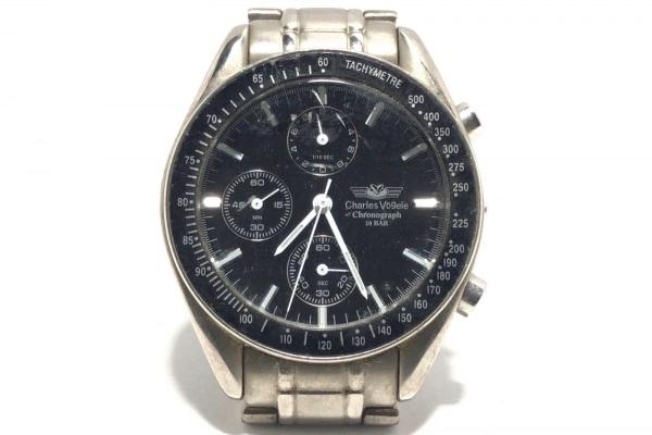 CharlesVogele(シャルルホーゲル) 腕時計 CV-7805 メンズ クロノグラフ 黒