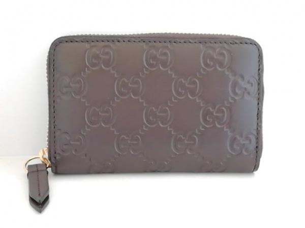 グッチ カードケース美品  シマライン 447939 ダークブラウン ラウンドファスナー