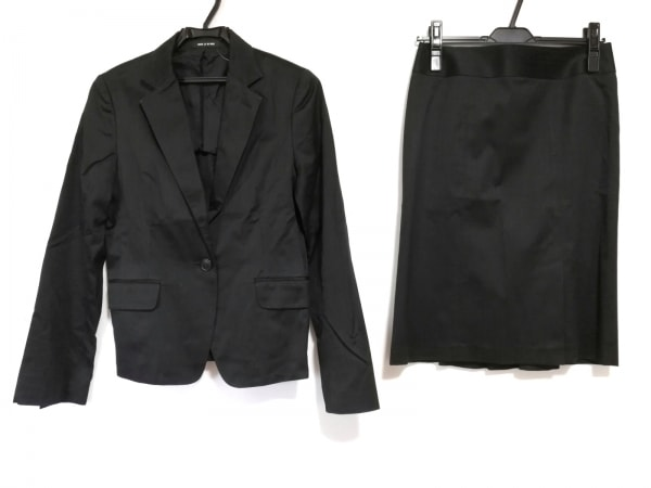 コムサデモード スカートスーツ サイズ11 M レディース美品  黒 ストライプ/肩パッド