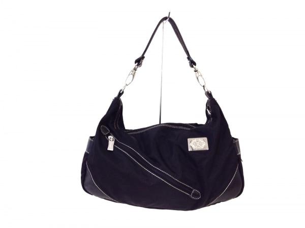 OROBIANCO(オロビアンコ) ハンドバッグ美品  黒×ダークブラウン ナイロン×レザー