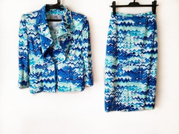 イグネス スカートスーツ サイズ38 M レディース ブルー×ライトグリーン×アイボリー
