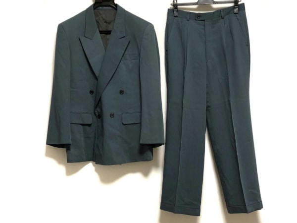 LANVIN(ランバン) ダブルスーツ サイズR46-44-82 メンズ ライトブルー ネーム刺繍